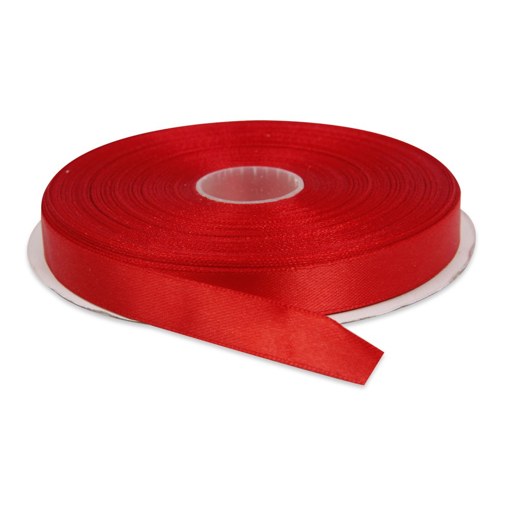 Topenca Supplies 1/2 Inch x 50 Yards Double Face Solid Ribbon Roll, Red