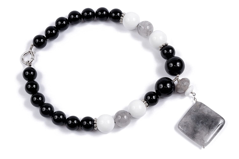 Spirit - Collar de cuarzo fumeì y ágata blanca y negra: Miyu: Amazon.es: Joyería