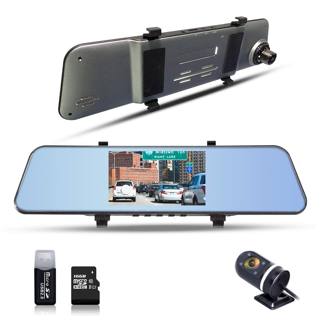 1296P Mirror Cam Dual Lens Dashboard Camera with 170° Wide Angle 5'' Display ADAS Function