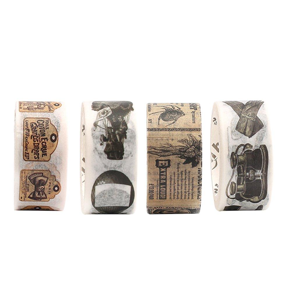HEALIFTY Cinta adhesiva decorativa 4pcs Washi Tape para el libro de recuerdos DIY Artesanía Envoltura de Regalos