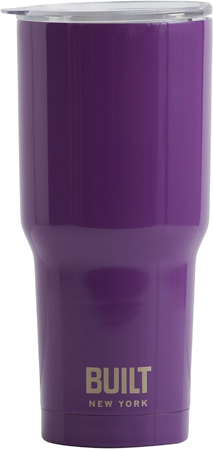 BUILT Tumbler Double Wall Stainless Steel Vacuum Insulated, 30-Ounce, Purple