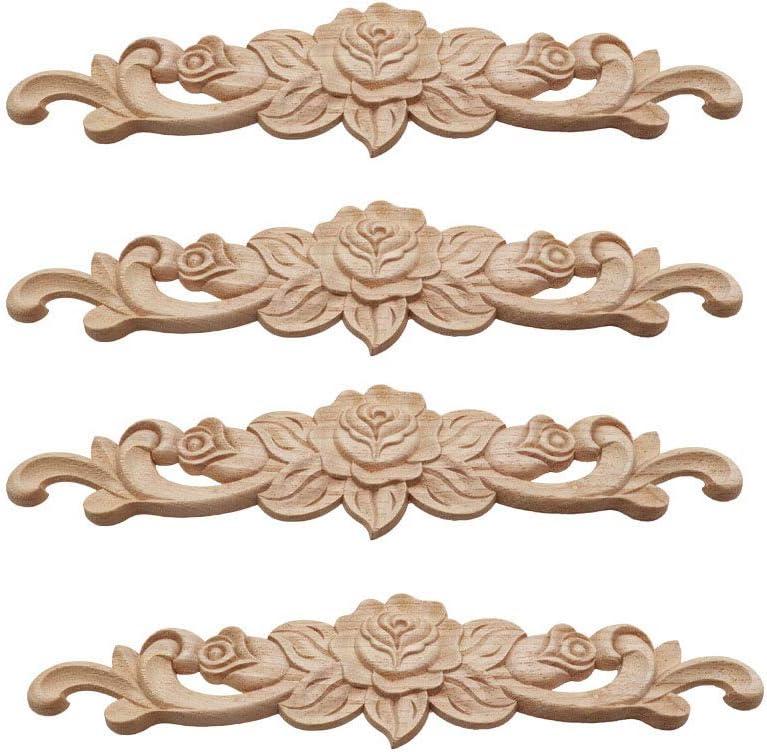Aplique Decorativo En Madera Tallada, Incrustaciones De Madera Tallada Larga, Decoración Del Hogar Europeo, 4 Piezas