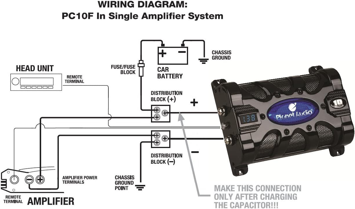 Amazon.com: Planet Audio PC10F 10 Farad Car Capacitor For Energy Storage To  Enhance Bass Demand From Audio System: Car Electronics | Bass And Amp For Car Stereo Capacitor Wiring Diagram |  | Amazon.com