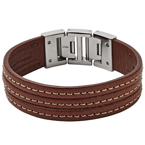da8a34bcbf2a Fossil JF01862 pulsera para hombre acero inoxidable cuero marrón 21 cm   Amazon.es  Joyería