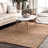 STS Indoor Outdoor Rug Jute Natural Color Rugs Natural Jute Area Rug Handmade Reversible Living Room Patio Mats (5' x 8' Rectangle)