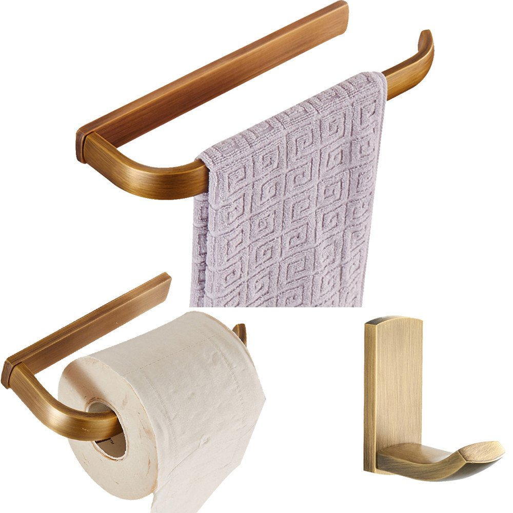 BigBig Home Anique Finish Single Brass Towel Bar Towel Rail For Bathroom 23 Inch Wall Mounted
