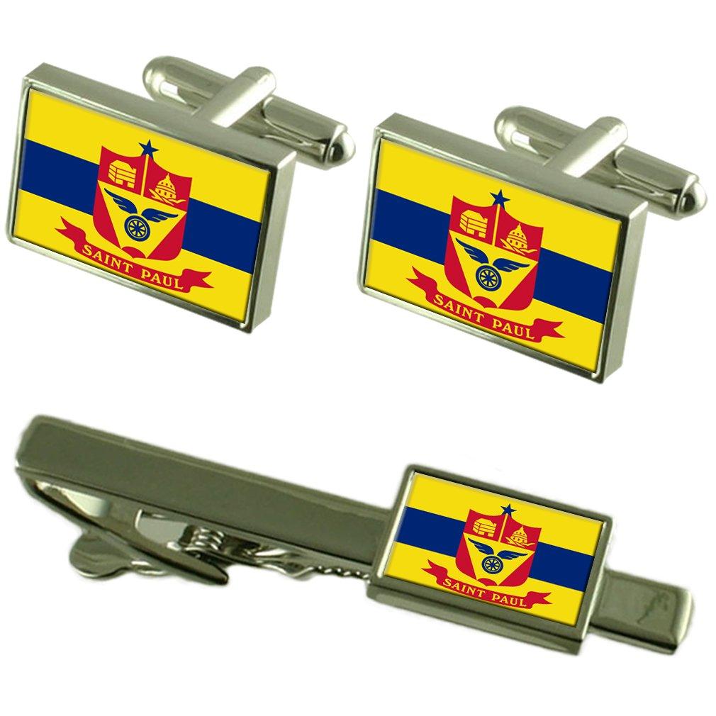 Saint Paul City United States Flag Cufflinks Tie Clip Box Gift Set