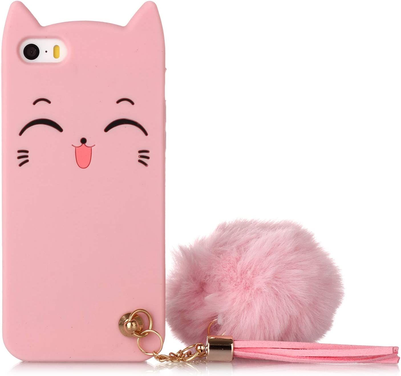 iPhone 5S Cat Case, iPhone SE Silicone Case, Fashion Cute 3D Pink Meow Party Cat Kitty Kids Girls Lady Protective Cases with Pompom/Strap Soft Case Skin for Apple iPhone 5/5s iPhone SE