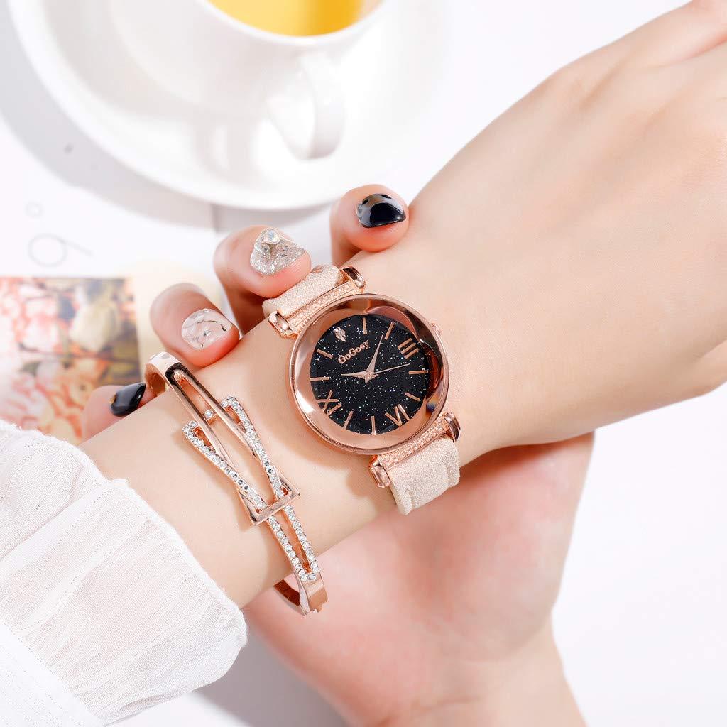 Damen Analog Uhr mit Leder Armband Mode Einfach r/ömisch Ziffer Rahmen Sternenhimmel Ziffer Rahmen Sternenhimmel Weiblich Beige