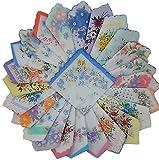 vintage handkerchiefs - Forlisea Womens Colorful Ladies Hankies 100% Cotton Handkerchief Wendding Hanky, Floral, 10pcs