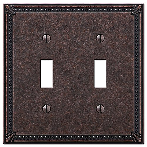 Imperial Bead Double Toggle Switch Plate in Tumbled Aged Bronze