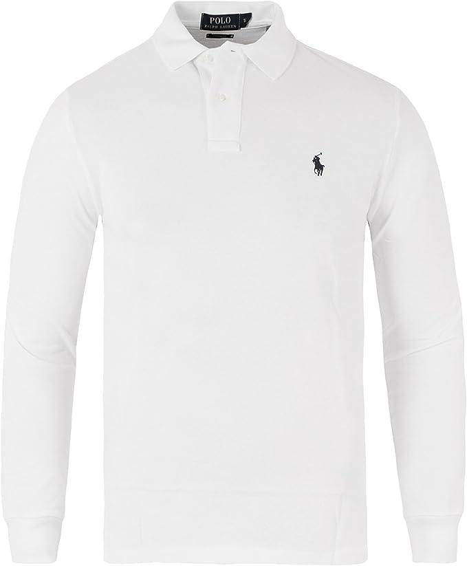 Ralph Lauren Men's Long Sleeve Polo Shirt Mesh Fit (White, M ...