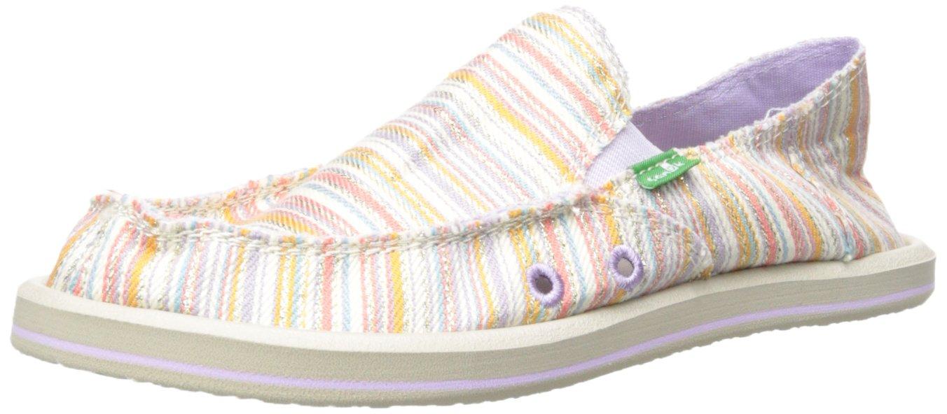 Sanuk Kids Donna Girls Slip On (Toddler/Little Kid/Big Kid), Purple/Orange Stripe, 11 M US Little Kid
