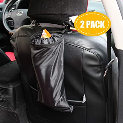 Encell Black Auto Seat Back Litter Bag Trash Keeper 2 Pack: Automotive