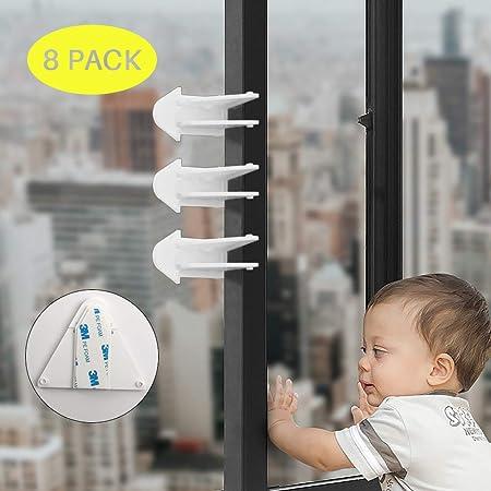 Candado de puerta corredera para seguridad infantil – 8 unidades de cerraduras de seguridad para patio, armario, ventanas, RV con adhesivo 3M para una fácil instalación: Amazon.es: Hogar