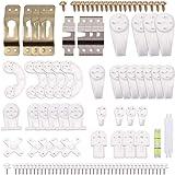 eZAKKA Set de 106pcs Ganchos de Pared Plásticos, Cuelga Fácil, Percheros Transparente Soporte Para Colgar…