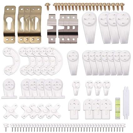 eZAKKA Set de 106pcs Ganchos de Pared Plásticos, Cuelga Fácil, Percheros Transparente Soporte Para Colgar Cuadros, Marcos de Fotos, Espejos Blanco