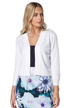 6d157a7531 Roman Originals Women Lace Back Shrug - Ladies 3/4 Sleeve Knitted Open  Evening Occasion Wedding Guest Cropped Jacket Knitwear Bolero Cardigan  Shrugs Boleros ...