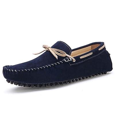 ZXCV Chaussures de plein air Angleterre Simple Solide Couleur Mode Casual Pois Chaussures Tendance Bateau Chaussures En Cuir Hommes Chaussures ( Couleur : Bleu foncé , taille : 39 )