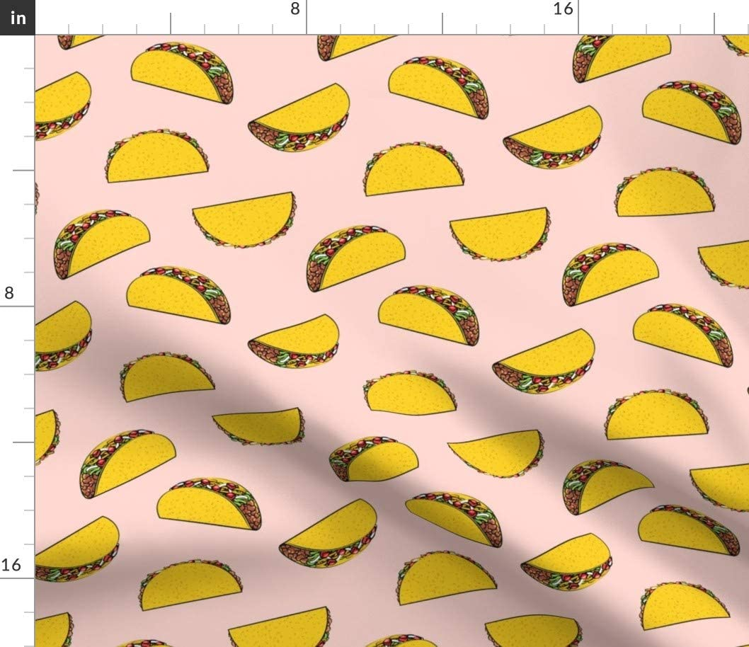 Spoonflower Fabric - Tacos Rose Fun Kids Light Pink Baby Girl Taco Junk Food Printed on Organic Cotton Knit Fabric by The Yard - Baby Blankets Clothing Apparel T-Shirts