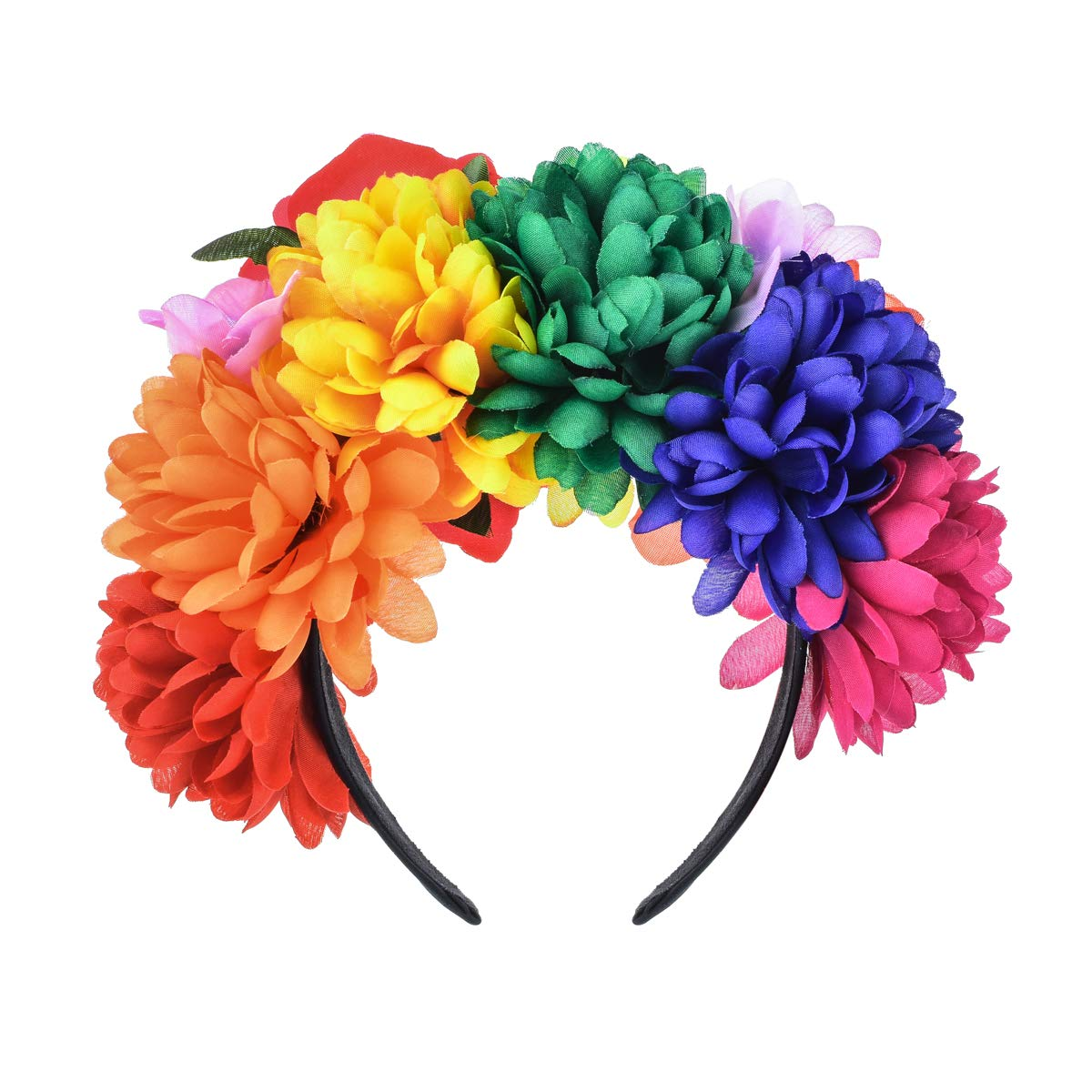 Floral Fall Day of The Dead Flower Crown Festival Headband Rose Mexican Floral Headpiece HC-23 (A-Rainbow Headband)