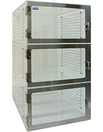 Three-Door Desiccator Cabinet Clear Acrylic, 24Wx18Dx36H in. with Gas ports, Racks