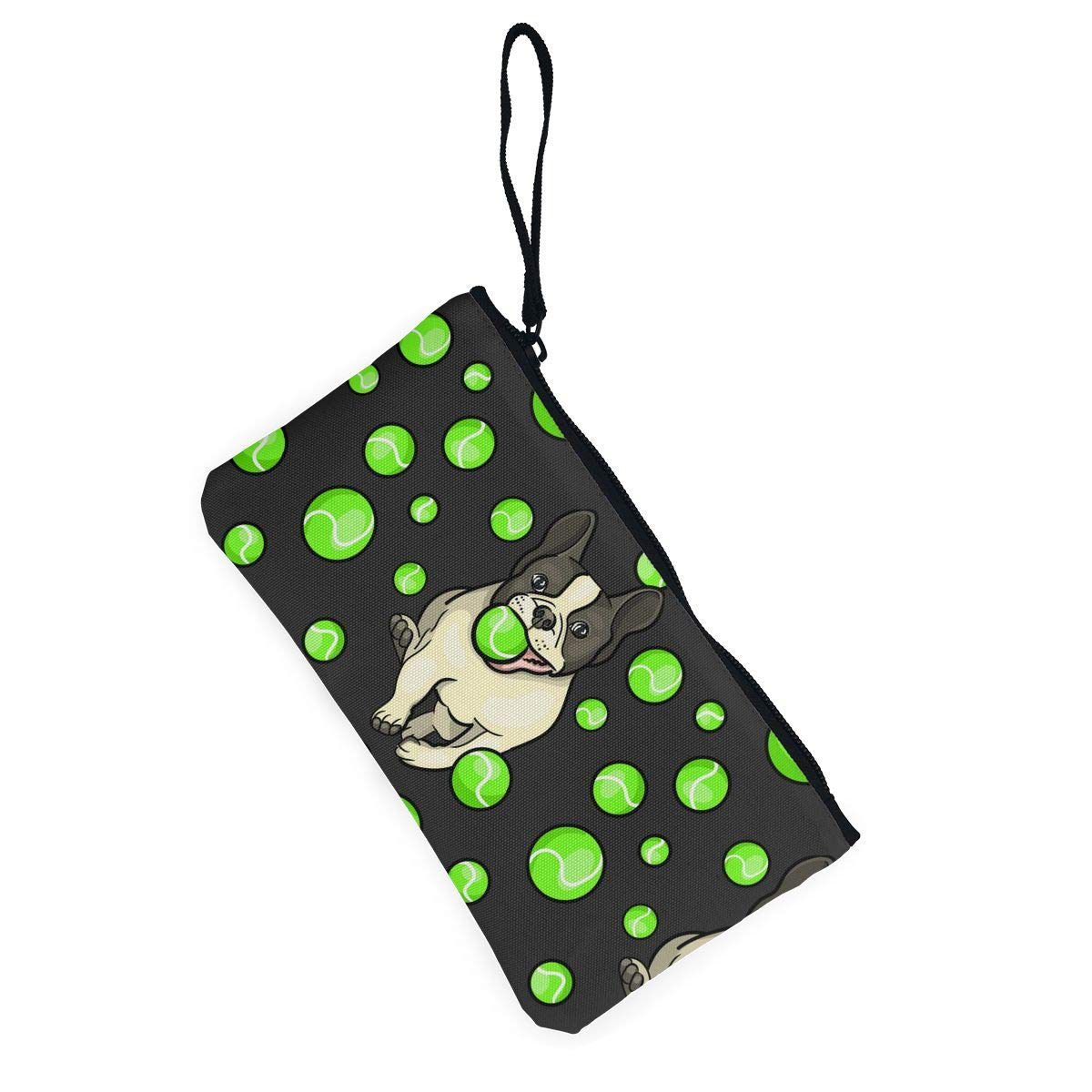 Dog Playing Tennis Ball Pattern Canvas Coin Purse Small Cute Money Bag with Zip