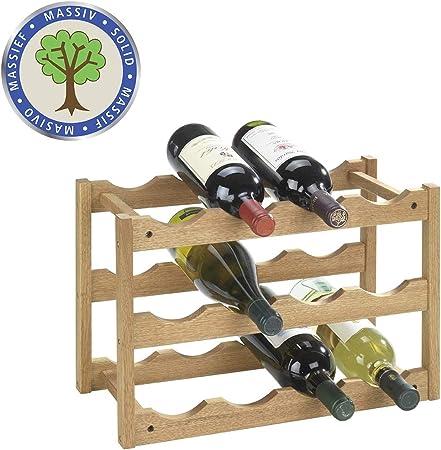 Estantería para botellas, para almacenar de manera óptima hasta 12 botellas de vino o de cava,De mad
