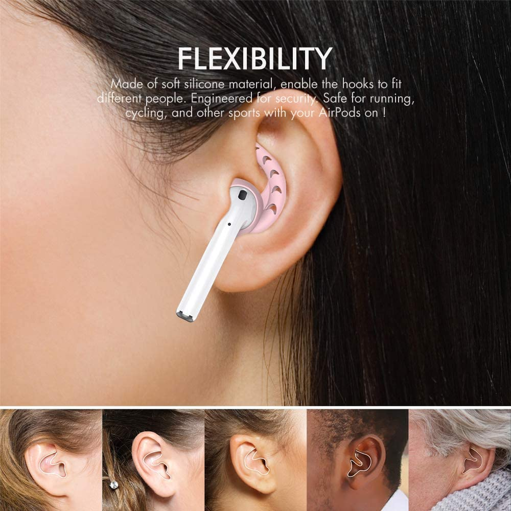 AhaStyle 3 Pairs AirPods Ear Hooks Silicone Accessories Compatible with Apple AirPods 1 and 2 or EarPods Headphones Black