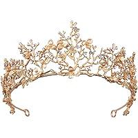 Enco Corona de Tiara, Corona Barroca de La Novia, Tiara de Boda Corona de Oro Rosa, para Novia, Baile de Graduación…