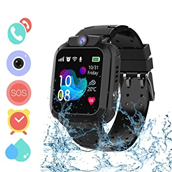 Winnes Inteligente Reloj para Niños, IP67 Impermeable Smart Watch Phone 2 Vías Llamada GPS Reloj Niñas Localizador con SOS Anti-Lost Alarm Táctil ...