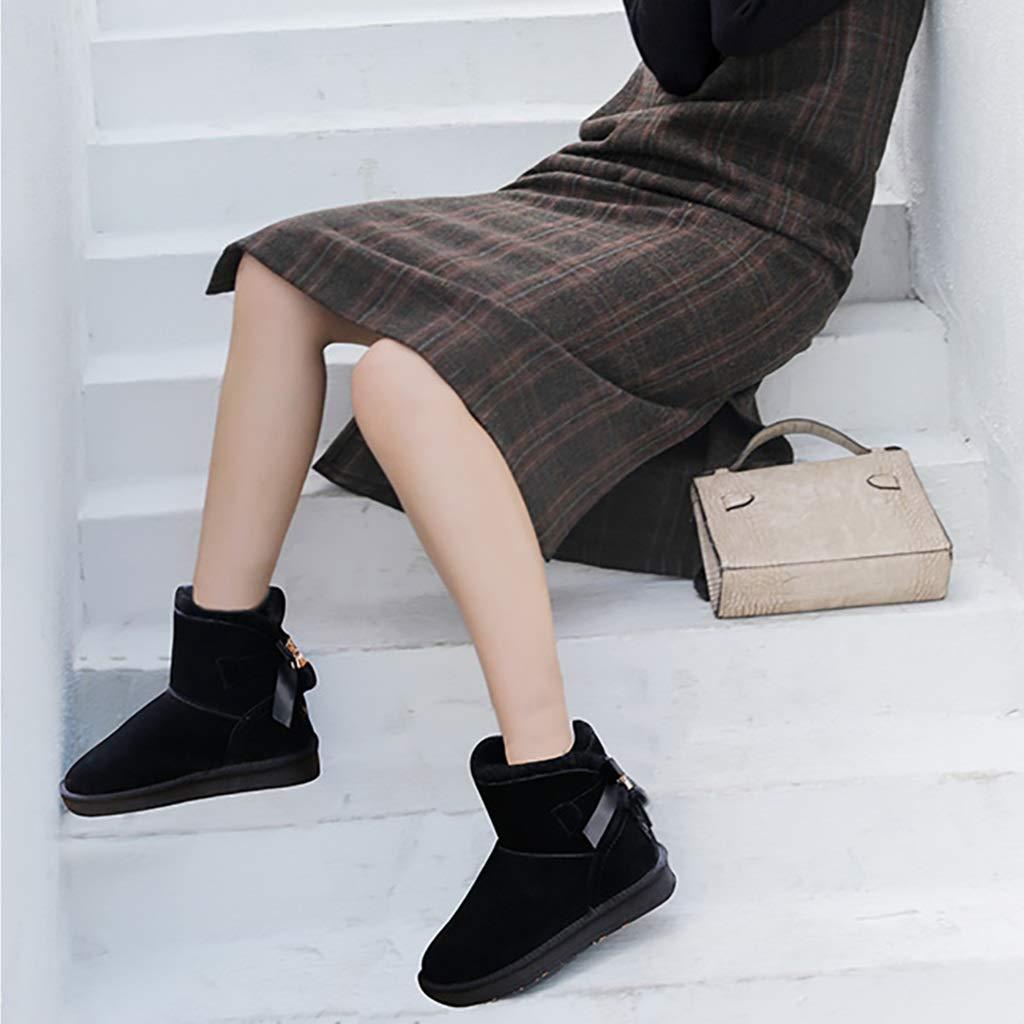 YUBIN YUBIN YUBIN Frauen Fringed Bow Und SAMT Winter Schnee Stiefel, Eine Vielzahl Von Farben, Größen (Farbe   SCHWARZ, größe   EU 35 US 4 UK 3 JP 22.5cm) 870924