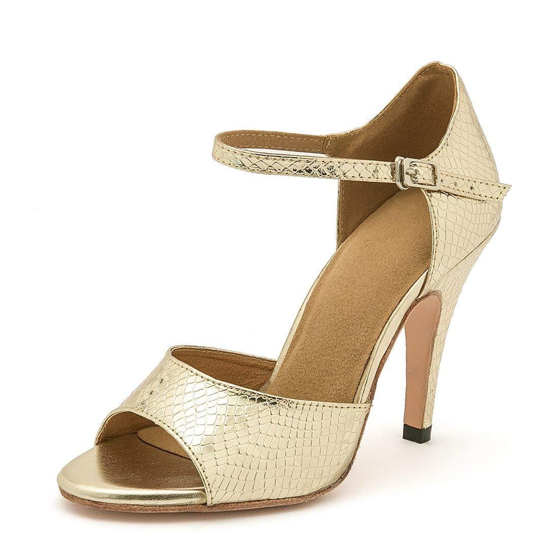 Qiusa Frauen Stiletto High Heel Heel Heel synthetische Tango Dance Sandalen (Farbe   Gold-4  Heel Größe   3.5 UK) bff628