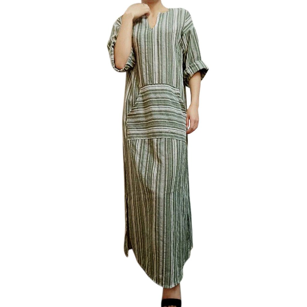 Farjing Women's Dress Clearance Sale Womens Fashion Striped Long Sleeve Kaftan Long Dress(M,Green