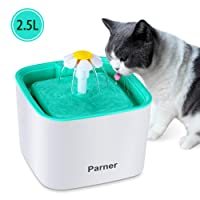 Pet Water Fountain, Parner 2.5L Flower Pet Dispenser, Super Quiet Automatic Drinking Water Bowl for Cat and Dog