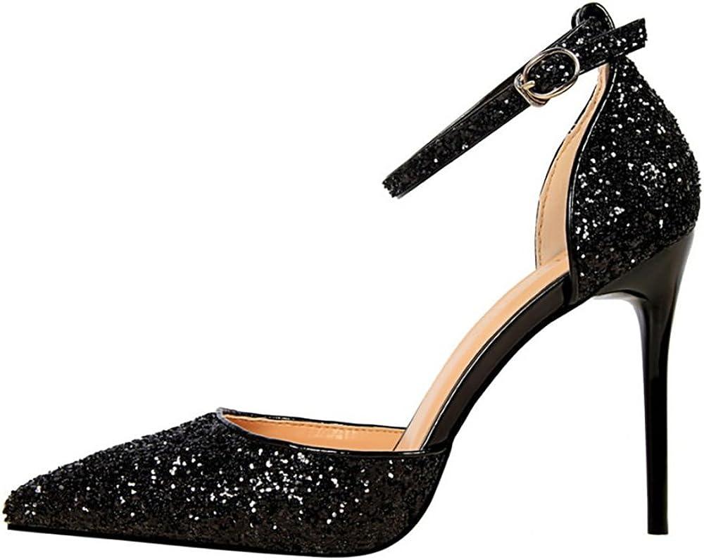 ankle strap glitter heels