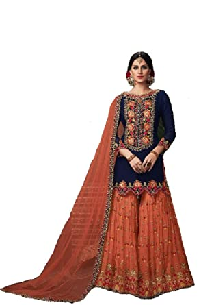 a7f4b1cf6a Delisa Indian/Pakistani Ethnic wear Georgette Plaazo Salwar Kameez 005  (Blue, X-