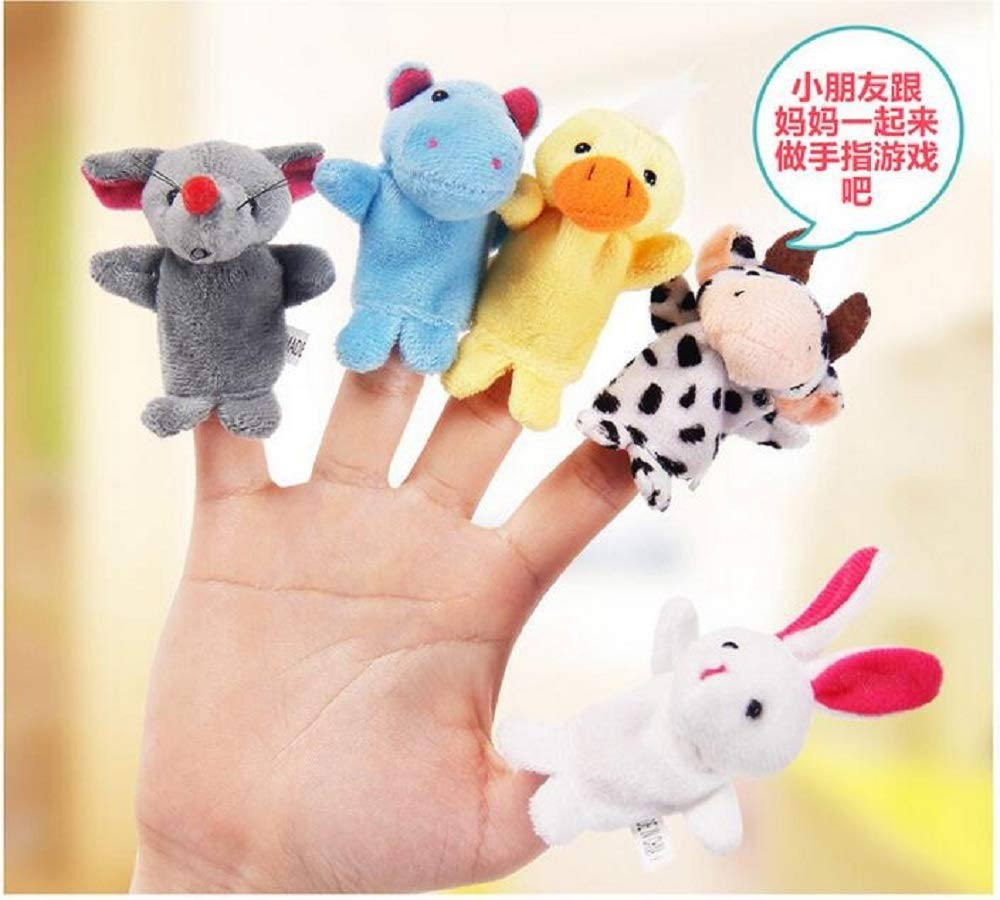 XIGUA MELON Cartoon hand puppet doll finger even baby child baby storytelling early education puzzle appease doll plush small toy 10 Pack