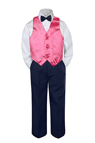 945acd1a4eb9 Image Unavailable. Image not available for. Color: 4pc Baby Toddler Kid Boys  Coral Vest Navy Blue Pants ...