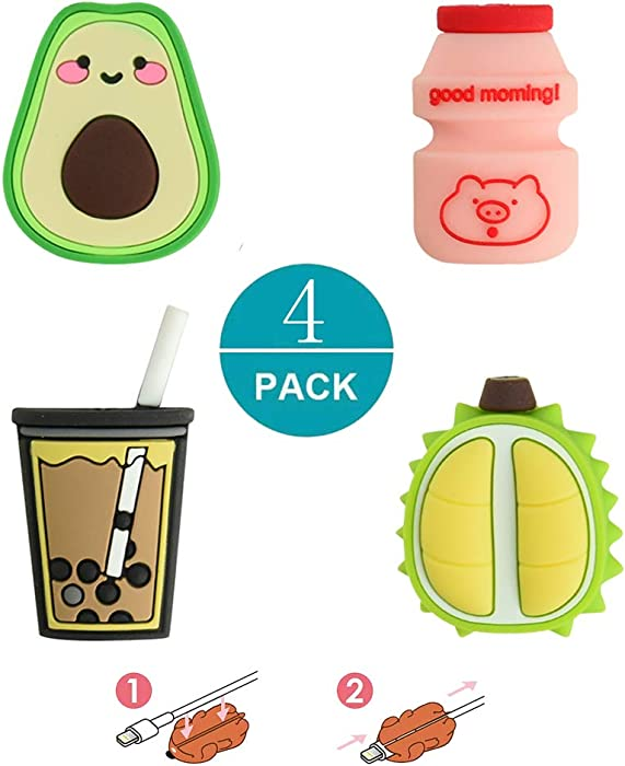 Newseego Compatible iPhone Cable Protector Charger Saver Cable Chewers Cable 2019 New Cute Fruit Drink Cable Accessory-4 Pack