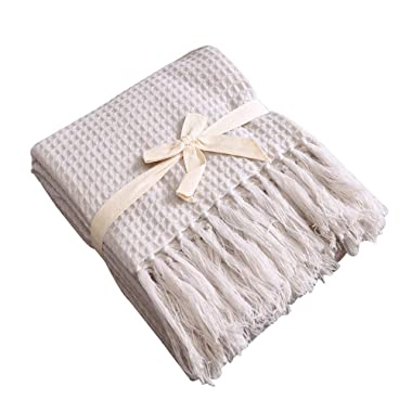 Couch and Sofa Waffle Throw Blanket with Fringe -Soft, Lightweight, Cozy, Acrylic Decorative Knitted-50×60 Inches, Light Gray