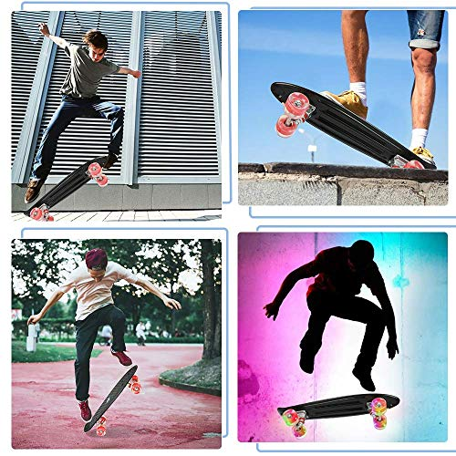 ToyerBee Skateboards 22 with Colorful LED Light Up Wheels, Complete Skateboard with A Repair Kit. Mini Cruiser Skateboard for Beginners Pro, Plastic Penny Board for Boys Girls Kids Adult