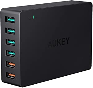 AUKEY Quick Charge 3.0 60W USB Charger with 6-Port USB Charging Station, Compatible with Samsung Galaxy Note8, iPhone 11/11 Pro/XS Max/XS/XR, iPad Pro/Air 2 and More