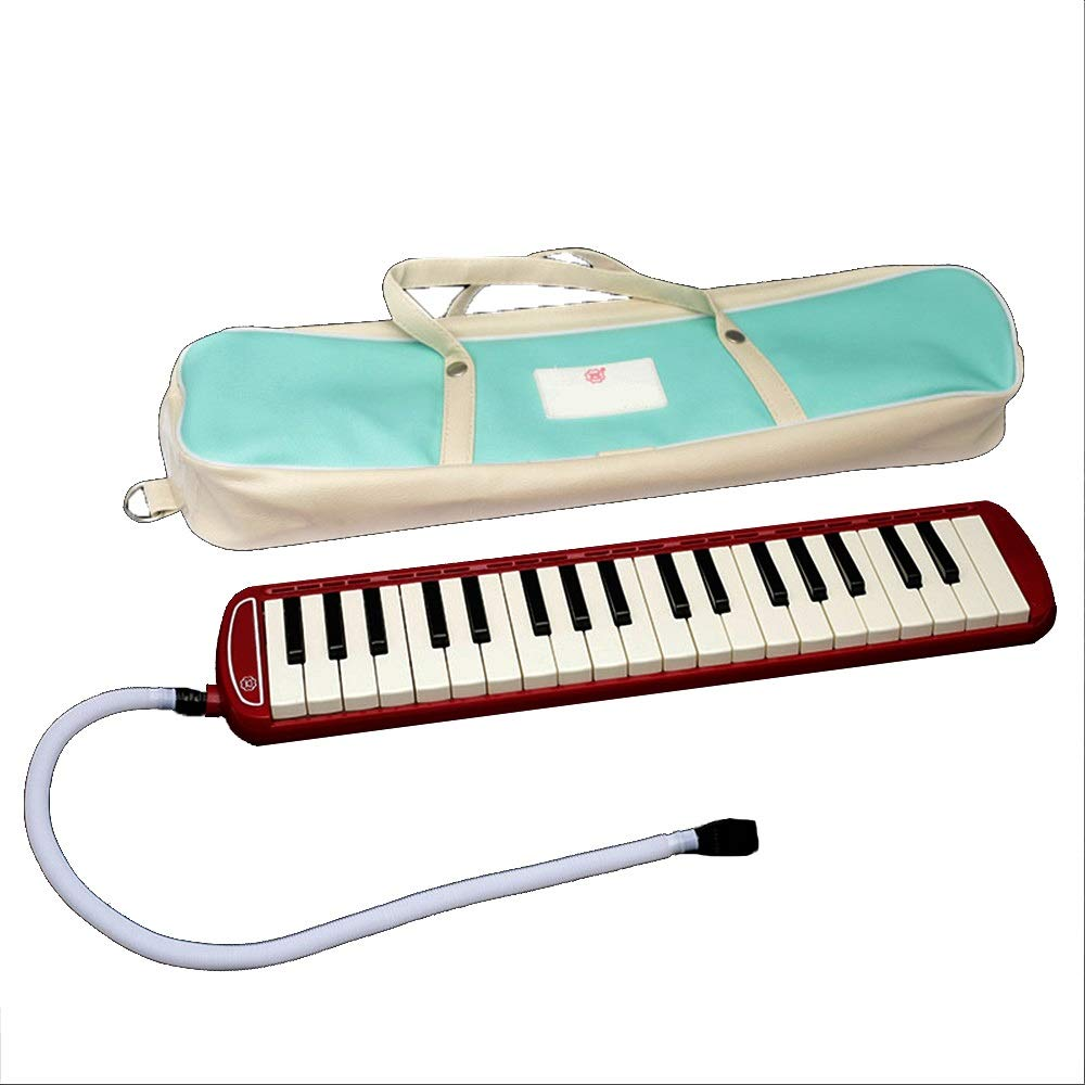 Melodica Musical Instrument Kids 37 Keys Portable Pianica Melodicas With Carrying Bag Musical Instrument Gift Toys For Music Lovers Beginners Mouthpieces Tube Sets Black Blue Pink For Music Lovers Beg