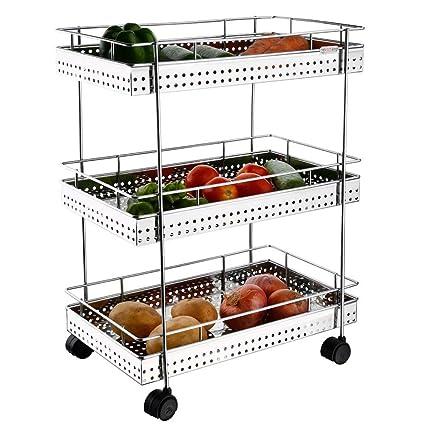 Supreme Stainless Steel Trolley/Basket/Rack Vegtables & Fruits with Wheels