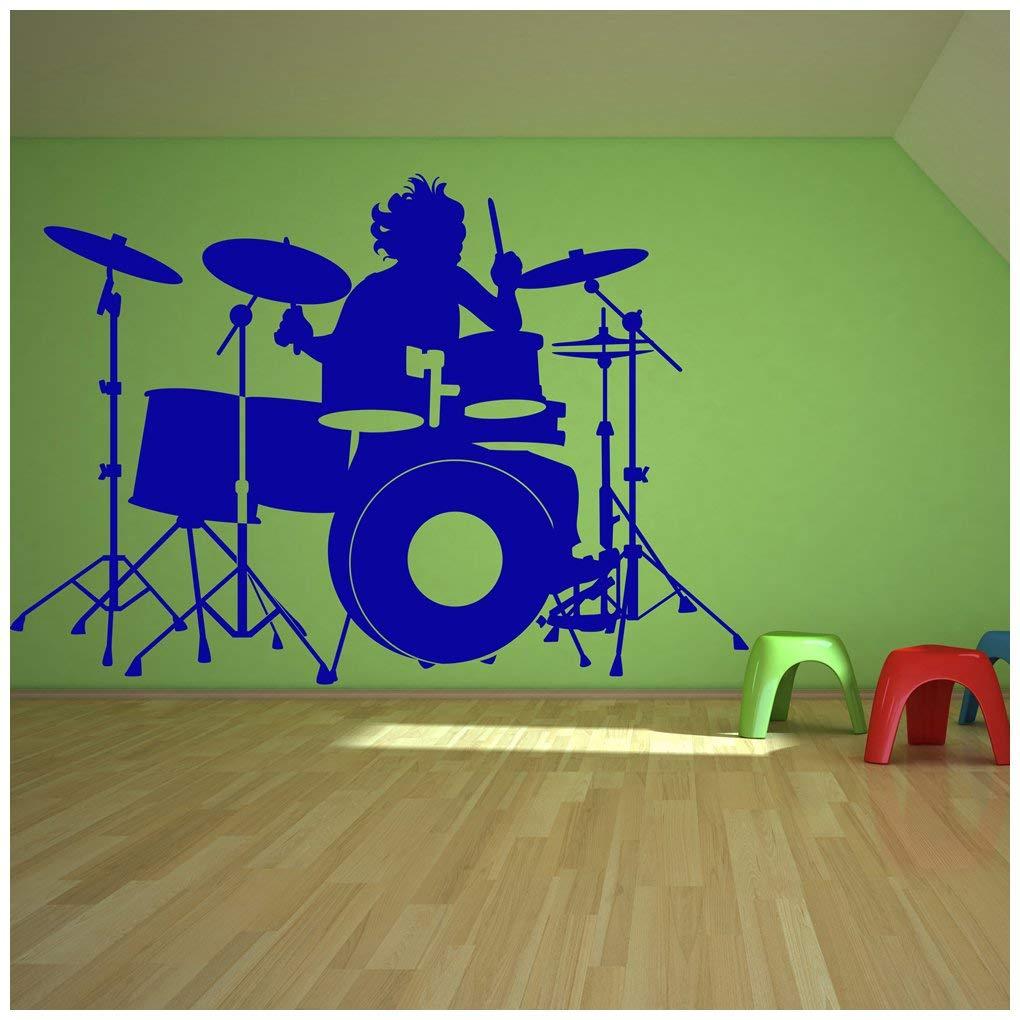 Azutura Schlagzeug Wandtattoo Schlagzeuger Musik Wand Sticker Schlafzimmer Kinder Wohnkultur verfügbar in 5 Größen und 25 Farben X-Groß Gold Metallic