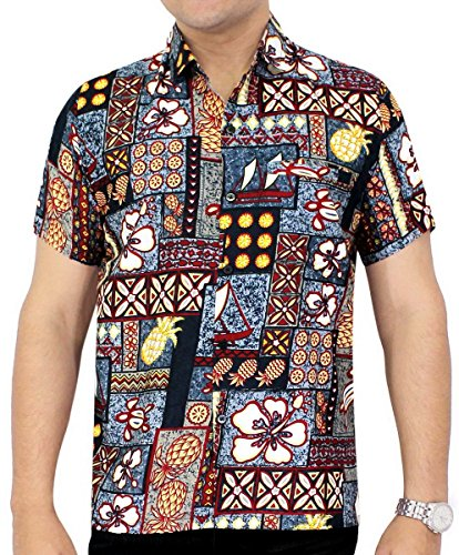 La Leela Likre Gift Dad Father mother Son Cheap ukulele Solid plain male golf pool swim dress Shirts Brown Hawaiian Tropical XL