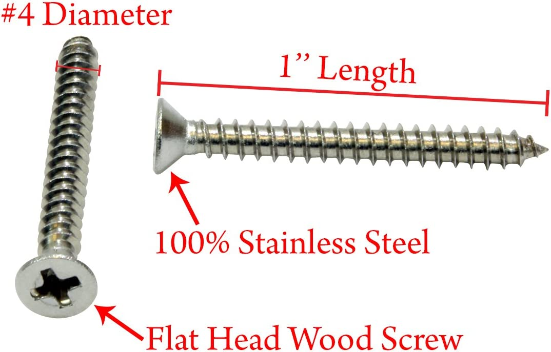 175 pcs TypeA 18-8 AISI 304 Stainless Steel Pan Phillips Drive #6 X 3 Self-Tapping Sheet Metal Screws