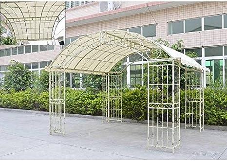 Gran carpa couverte Kiosko de jardín pérgola refugio Rectángulo hierro forjado blanco 280 x 305 x 405 cm: Amazon.es: Jardín
