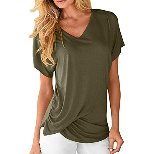 e6a816efe92 Image Unavailable. Image not available for. Color  Wintialy Womens V-Neck  Short Sleeve Tops Draped Plain Ruched Casual T-Shirts Tee